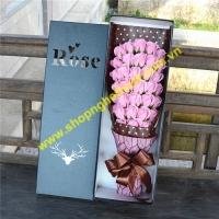 Hoa hồng sáp hộp chữ nhật 33 bông. Mã HSO10 (60 x 20 x 12cm)
