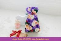 Hộp hoa sáp Hàn Quốc váy cô dâu. Mã HSH 24