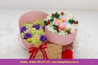 Hộp hoa sáp Hàn Quốc 2 tầng hoa 7 màu. Mã HSH 26