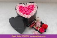 Hộp hoa sáp Hàn Quốc trái tim. Mã HSH 28